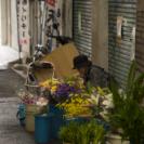 牧志で花を売る人