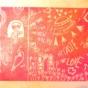 ケシゴムハンコアート NO10 題「愛の歌で宇宙船を操縦する宇宙人」川崎じゆう