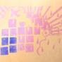 ケシゴムハンコアート NO12 題「2016年6月のベランダ」