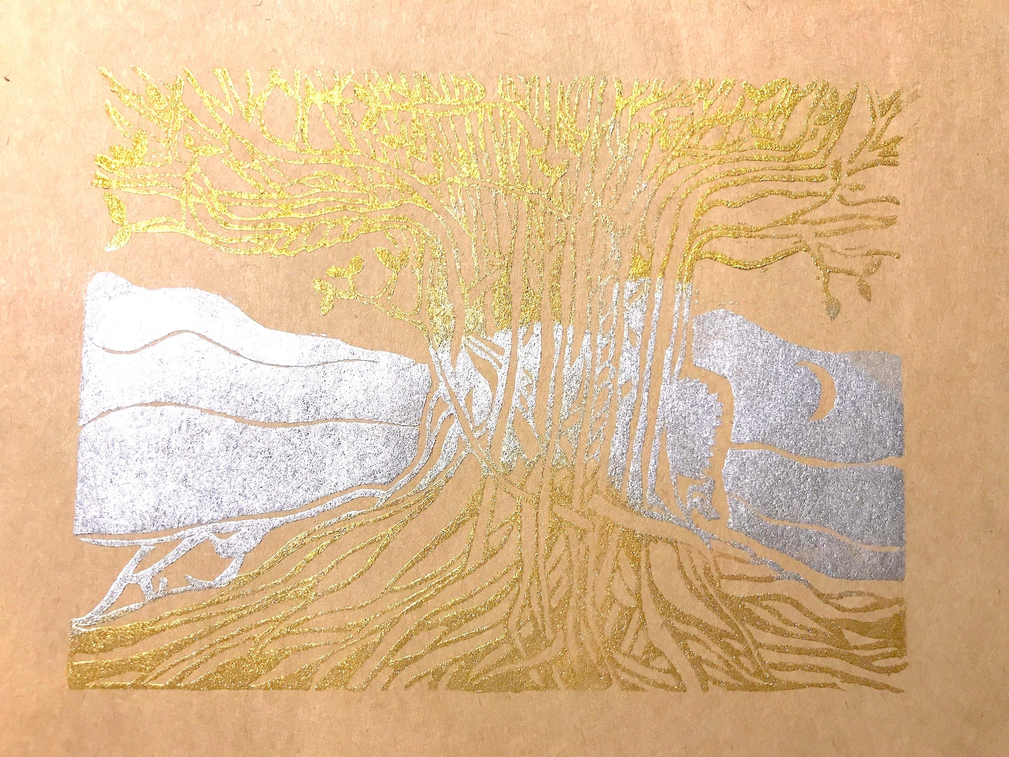 ケシゴムハンコアート NO14 題「天と地をつなぐ木」