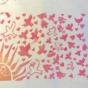 15ケシゴムハンコアート NO15 題「鳥とシンクロして飛ぶ宇宙人」