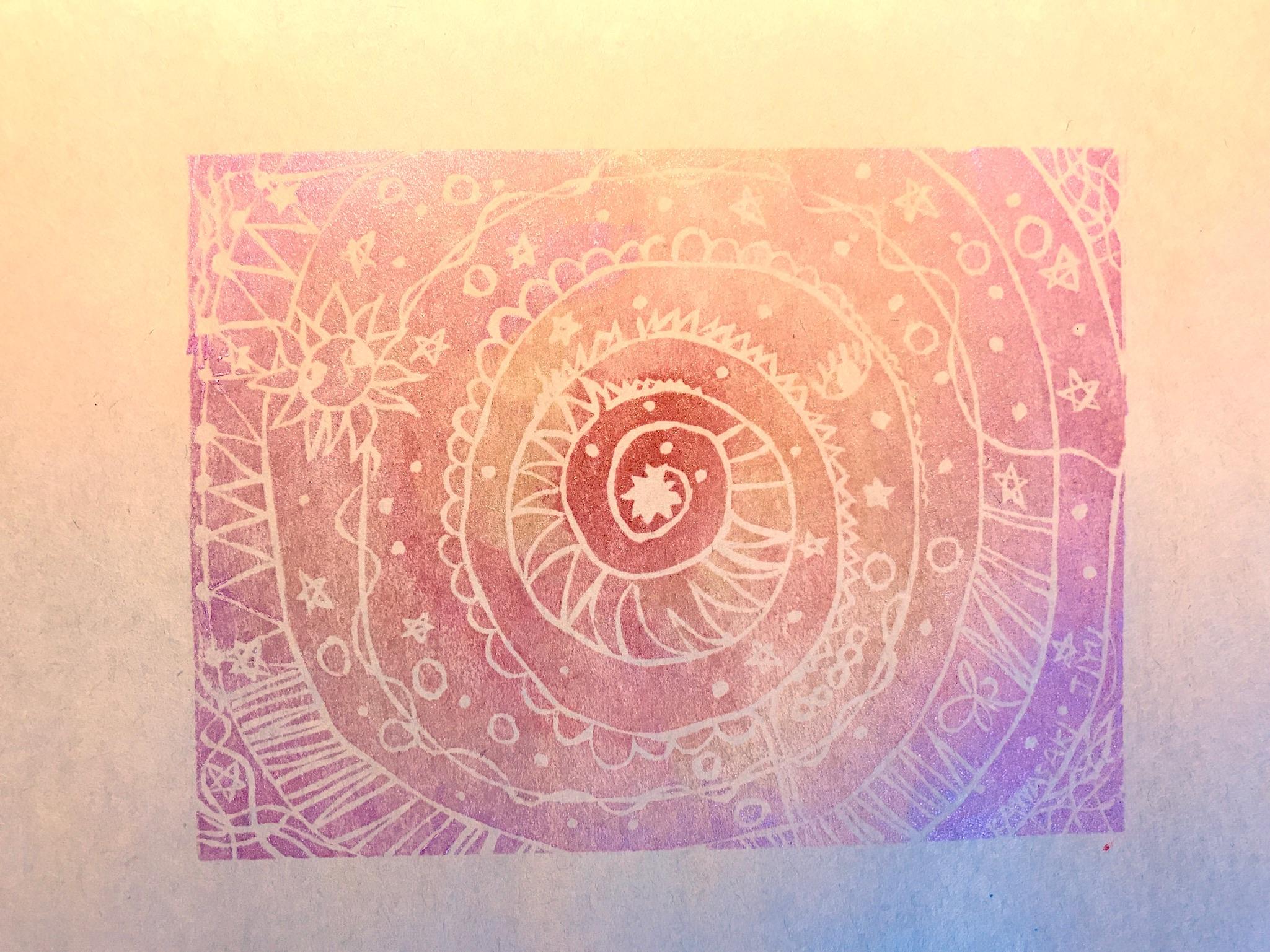 20 ケシゴムハンコアート NO20 題「時間」川崎じゆう